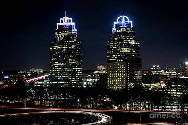 Photograph - King And Queen Buildings At Night Atlanta Ga 2 by Sanjeev Singhal