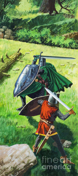 Wall Art - Painting - King Arthur Doing Battle With The Green Knight by Unknown