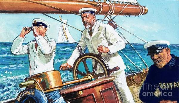 Helm Painting - King George V Sailing Britannia by Clive Uptton