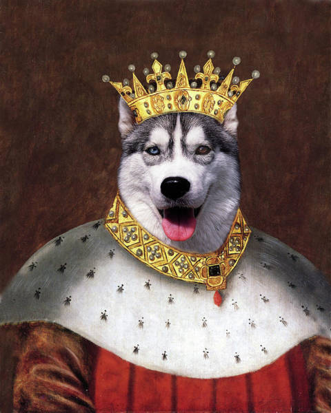 Husky Mixed Media - King Husky by Monica LaTanya