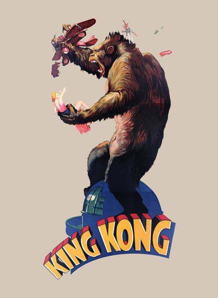 Big Island Digital Art - King Kong Retro Movie Poster by Filip Hellman
