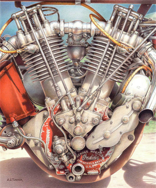 Wall Art - Drawing - King Of The Board Track Racers - 1915 Indian Motorcycle Engine by Amy S Turner