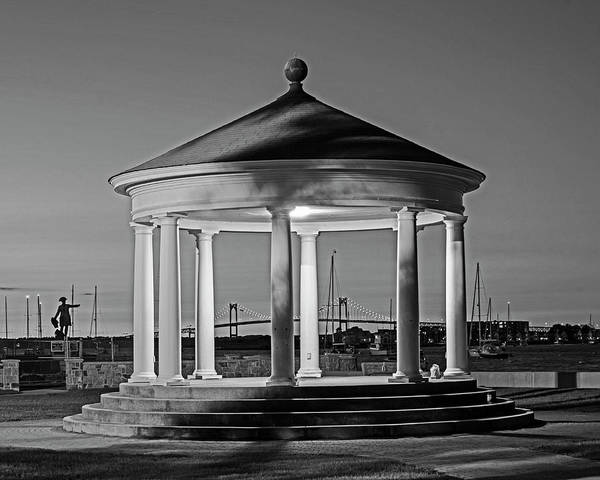 Photograph - King Park Gazebo And Pell Bridge Sunset Newport Ri Rhode Island Black And White by Toby McGuire