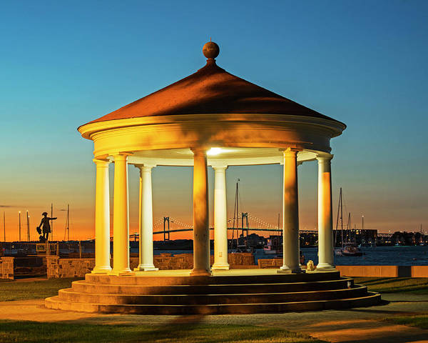 Photograph - King Park Gazebo And Pell Bridge Sunset Newport Ri Rhode Island by Toby McGuire