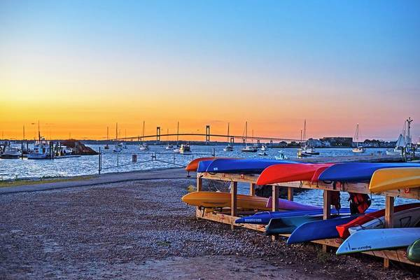 Photograph - King Park Kayaks At Sunset Newport Rhode Island Ri Newport Harbor Pell Bridge by Toby McGuire