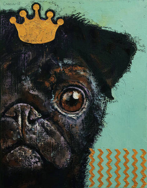 Hund Wall Art - Painting - King Pug by Michael Creese