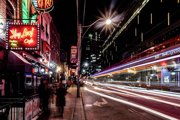 Photograph - King St. Street Car Time Exposure by Sven Brogren