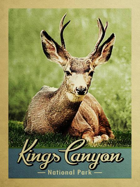 Wall Art - Digital Art - Kings Canyon National Park Vintage Deer by Flo Karp