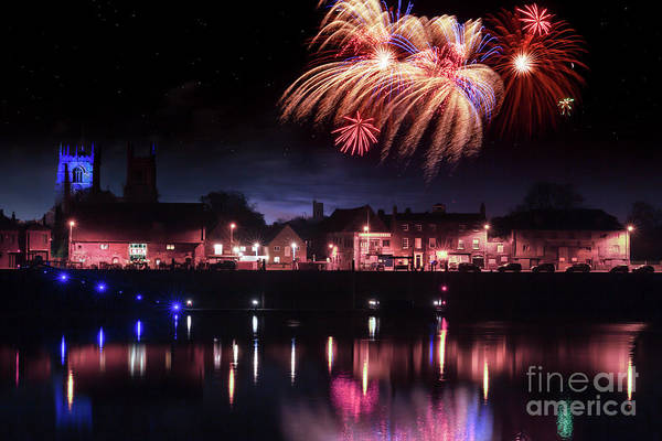 Kings Lynn Wall Art - Photograph - Kings Lynn Fireworks Finale Over The River Ouse by Simon Bratt Photography LRPS