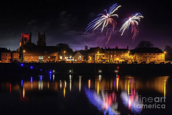 Kings Lynn Wall Art - Photograph - Kings Lynn Fireworks Over The River Ouse by Simon Bratt Photography LRPS