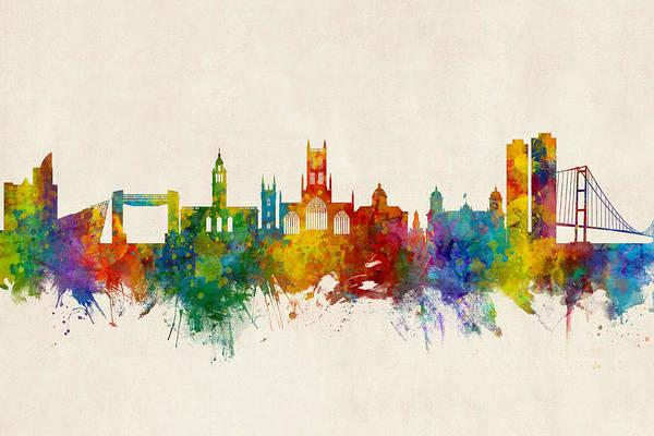 Wall Art - Digital Art - Kingston Upon Hull England Skyline by Michael Tompsett