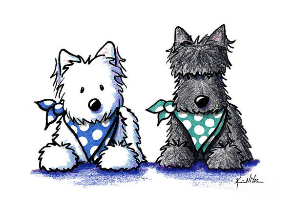 Scarf Drawing - Kiniart Terrier Twosome by Kim Niles