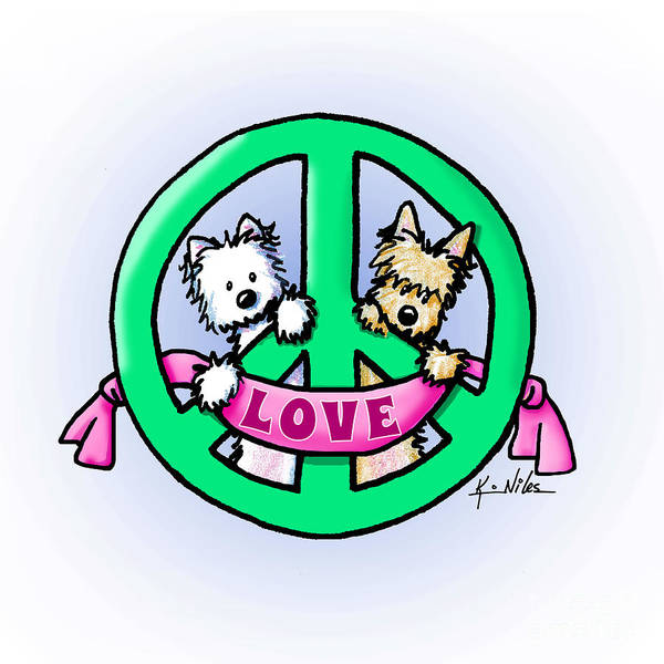 Wall Art - Drawing - Kiniart Terriers Peace And Love by Kim Niles