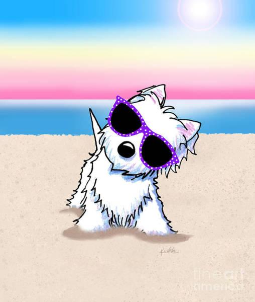 Wall Art - Mixed Media - Kiniart Westie Terrier Beach by Kim Niles