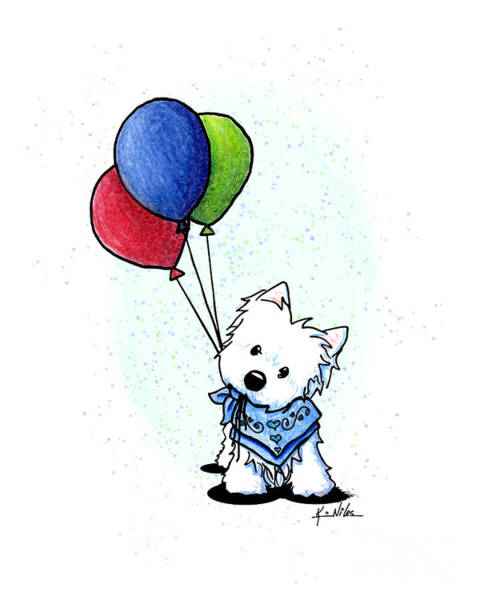 Wall Art - Drawing - Kiniart Westie With Balloons by Kim Niles