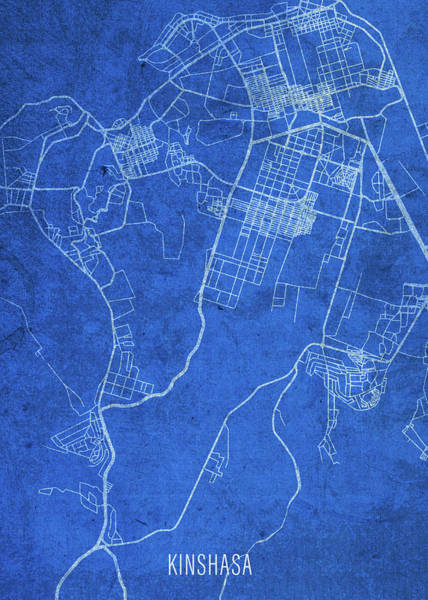 Wall Art - Mixed Media - Kinshasa Congo City Street Map Blueprints by Design Turnpike