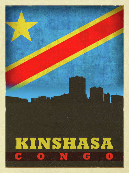 Wall Art - Mixed Media - Kinshasa Congo World City Flag Skyline by Design Turnpike