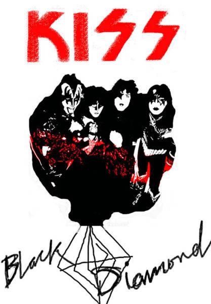Blue Oyster Cult Wall Art - Drawing - Kiss Black Diamond 1974  by Enki Art