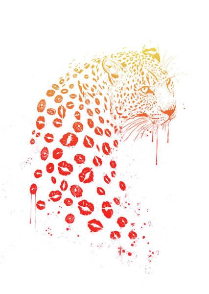 Leopard Wall Art - Mixed Media - Kiss Me by Balazs Solti