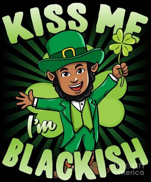 Digital Art - Kiss Me Im Blackish Black Leprechaun by Flippin Sweet Gear