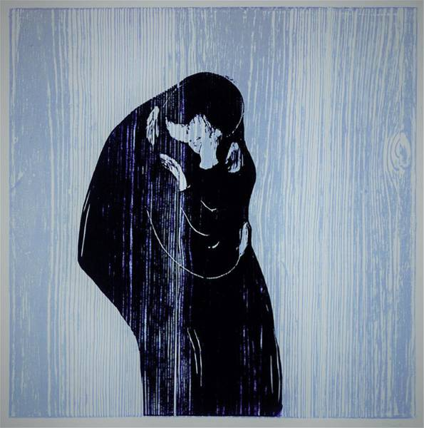Wall Art - Painting - Kiss - Original Bluecolor Edition by Edvard Munch