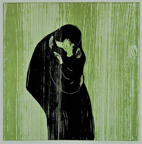 Wall Art - Painting - Kiss - Original Greencolor Edition by Edvard Munch