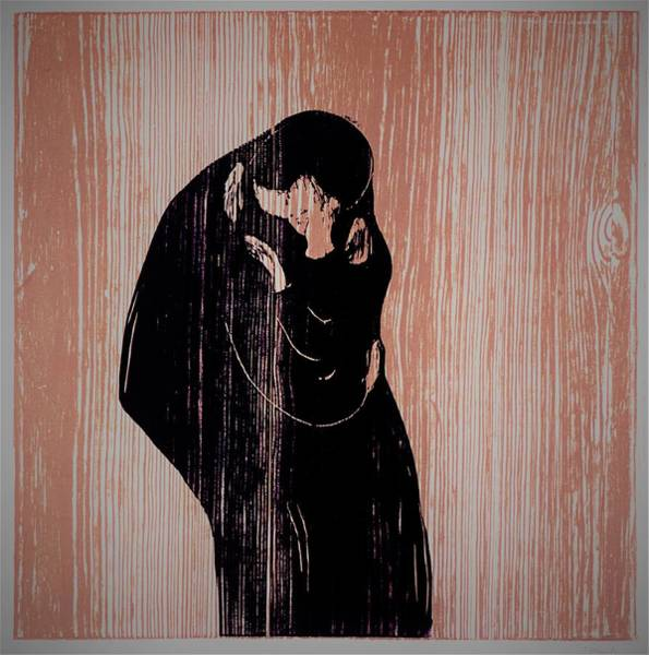 Wall Art - Painting - Kiss - Original Redcolor Edition by Edvard Munch