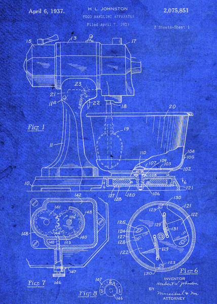 Patent Mixed Media - Kitchen Blender Vintage Patent Blueprint by Design Turnpike