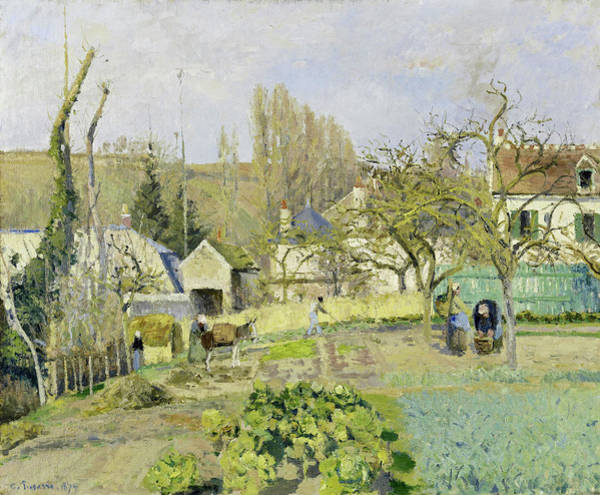 Wall Art - Painting - Kitchen Gardens At L'hermitage, Pontoise, 1874 by Camille Pissarro