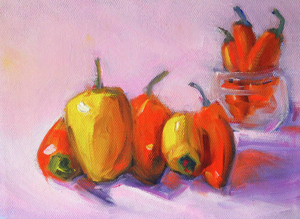 Wall Art - Painting - Kitchen Peppers by Nancy Merkle
