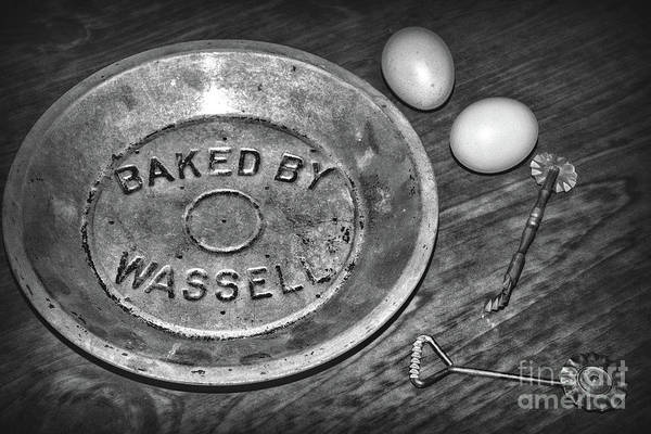 Wall Art - Photograph - Kitchen - Pie Baking Tools Black And White by Paul Ward