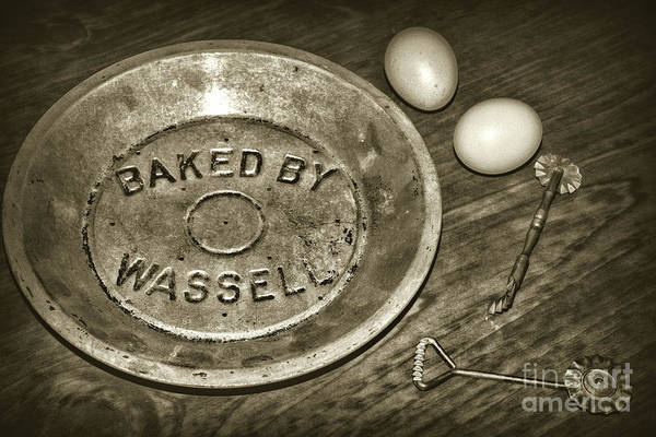 Wall Art - Photograph - Kitchen - Pie Baking Tools Sepia by Paul Ward
