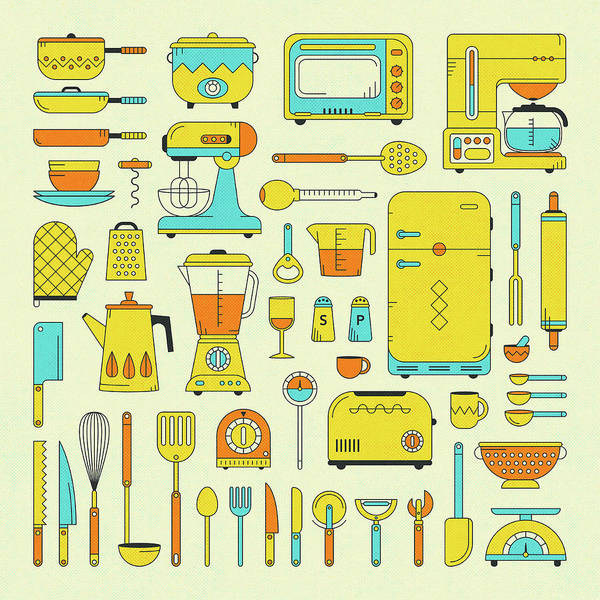 Diagram Wall Art - Digital Art - Kitchen Utensils And Appliances by Jazzberry Blue