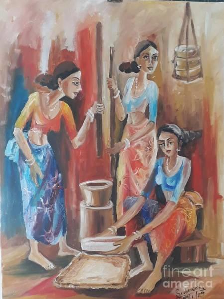 Wall Art - Painting - Kitchen Work by Sudumenike Wijesooriya