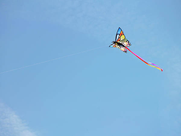 Flying A Kite Photograph - Kite Flying Aginst Blue Sky by Siri Stafford