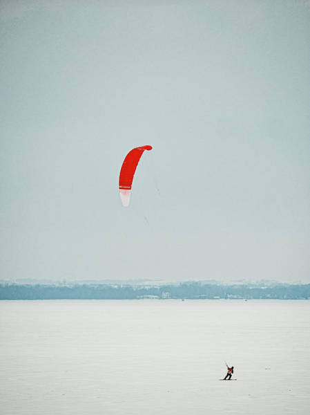 Photograph - Kite Skiing 2 - Madison - Wiscosiin by Steven Ralser