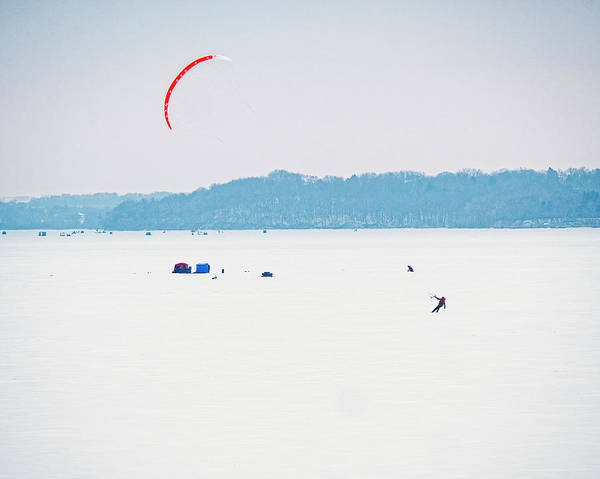 Photograph - Kite Skiing - Madison - Wisconsin by Steven Ralser