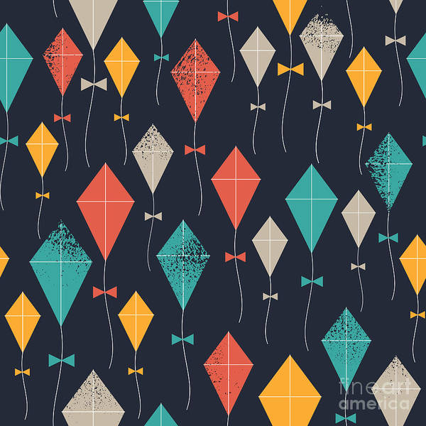 Celebration Digital Art - Kites Seamless Pattern. Flying Kites by Adehoidar