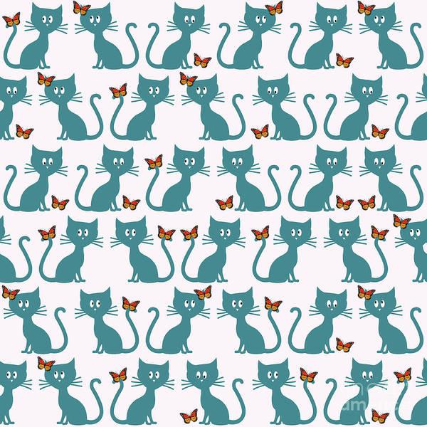 Wall Art - Digital Art - Kittens And Butterflies by Gaspar Avila