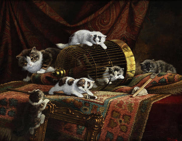 Crazy Cat Painting - Kittens by Cornelis Raaphorst