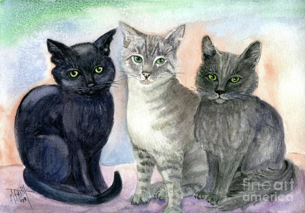 Painting - Kitty Trio by Marilyn Smith