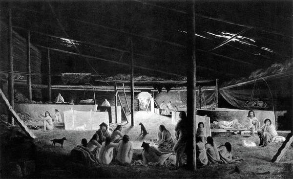 Wall Art - Painting - Klallam Indian Winter Encampment by Science Source