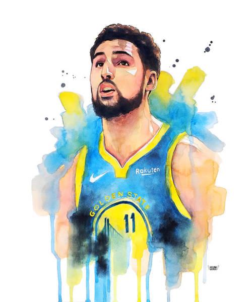 Wall Art - Painting - Klay Thompson, Golden State Warriors by Wachira Kacharat