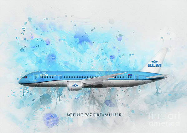 Digital Art - Klm Boeing 787 Dreamliner by Ian Mitchell