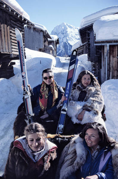 Ski Resort Photograph - Klosters Skiing by Slim Aarons