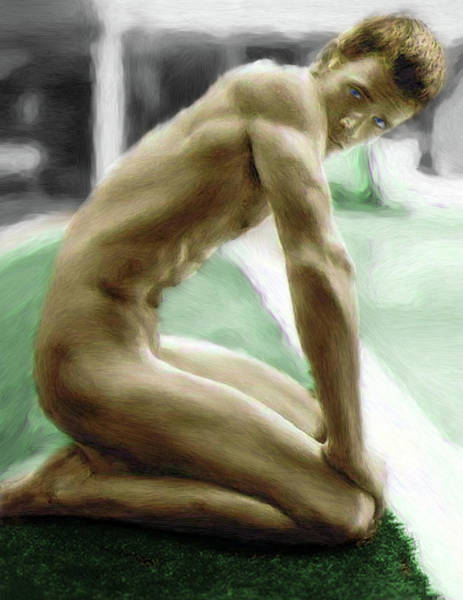 Painting - Kneeling And Staring by Troy Caperton