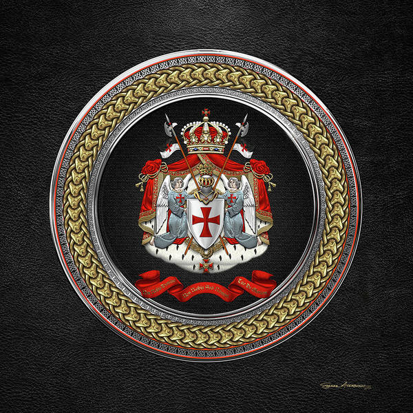 Digital Art - Knights Templar - Coat Of Arms Special Edition Over Black Leather by Serge Averbukh