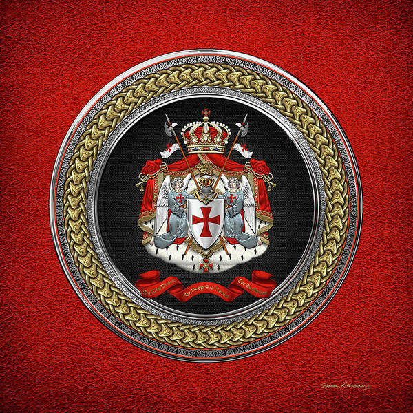 Digital Art - Knights Templar - Coat Of Arms Special Edition Over Red Leather by Serge Averbukh