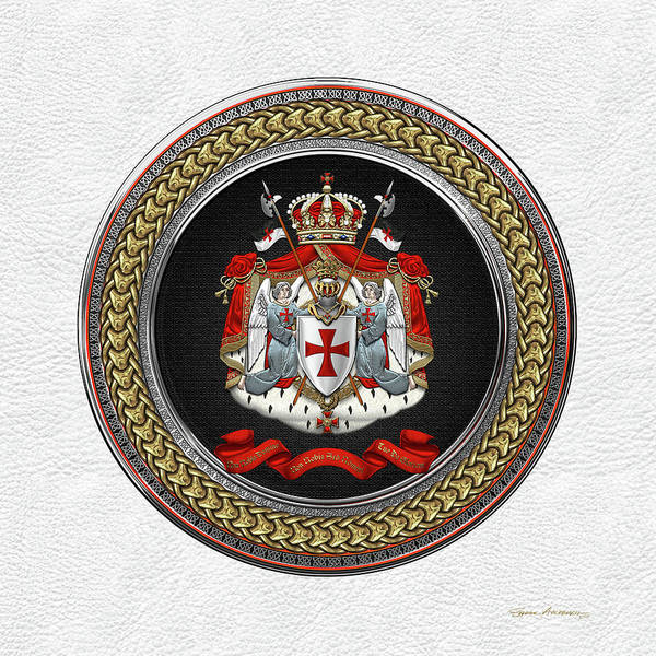 Digital Art - Knights Templar - Coat Of Arms Special Edition Over White Leather by Serge Averbukh