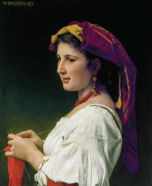 Sewer Painting - Knitter by William-Adolphe Bouguereau